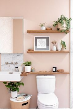 You Can Breathe a Sigh of Relief — Our Ultimate Bathroom Guide Is Here Ahead are the most important things to consider when planning a bathroom renovation. Including helpful information and inspiration to guide the way. Boho Bathroom, Bathroom Colors, Bathroom Ideas, Bathroom Designs, Blush Bathroom, Colorful Bathroom, Bathroom Canvas, Bathroom Inspo, Bathroom Styling