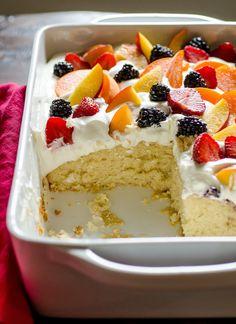 Easy Summer Cake with Fruit & Cream