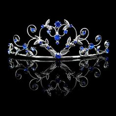 4cm High Heart Sapphire Blue Wedding Bridal Bridesmaid Prom Party Crystal Tiara in Clothing, Shoes & Accessories | eBay