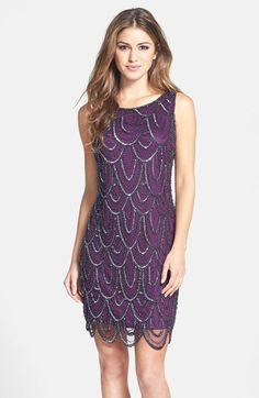 embellished mesh cocktail dress