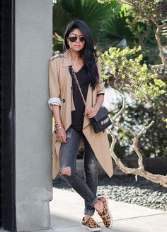 Citizens of Humanity jeans, LA't by L'Agence top, Aryn K trench coat, Steve Madden shoes, Linea Pelle bag.