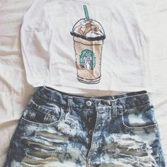 tank top Starbucks carmel frappuccino fresh tops crop top fresh tops.com $25