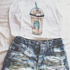 tank top Starbucks carmel frappuccino fresh tops crop top fresh tops.com $25