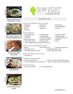 Vegetarian Meal Plan & Shopping List - Includes recipes for Black Bean Flautas, Baked Ravioli, Brussels Sprouts Pita Pizzas + 2 more meatless meal ideas