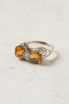citrine and diamond vintage bow ring.  Love this! It's my sons birthstone too!