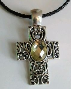 Cross Necklace on Braided Leather Necklace  #SkipaBeatJewelry #Pendant