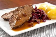 Sauerbraten is one of the best known German dishes and several regions boast local versions including: Bavaria, Rhineland, Saarland, Silesia, and Swabia. This one is a special Rhineland-style Sauerbraten with Raison Gravy. Holiday Baking, Bavaria, Gravy, The Best, The Good Place, Steak, German, Pork, Beef