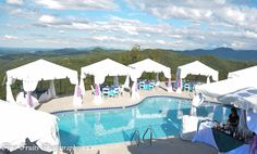 Poolside Wedding Reception outside of Knoxville TN in the Smoky Mountain area. Full Service Wedding Catered Reception. Tents by Campbell Tent and Party Rentals.