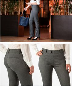 Herringbone Dress-Pant Yoga Pants. Professional-looking workwear that can double as workout wear. What sort of new office yoga poses will you pioneer?