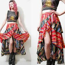 Image result for wrap 70's skirt images angled hem Wrap Style, My Style, Fishtail Skirt, Skirt Images, Fabric Labels, Hippie Gypsy, Print Wrap, Ruffle Skirt, Vintage Skirt