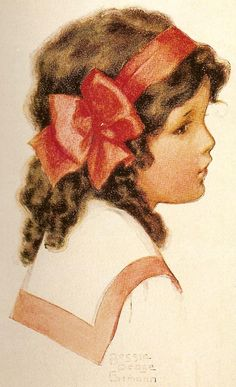Bessie Pease Gutmann Young Girl With a Red Bow Counted Cross Stitch Chart