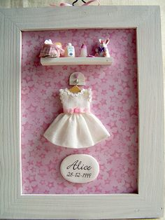 Quadretto nascita GIRL, by Teeny Weeny, 29,00  su misshobby.com Baby Scan Frame, Hobbies And Crafts, Arts And Crafts, Picture Frame Decor, Diy Baby Gifts, Baby Box, Cute Embroidery, Baby Christening, Homemade Crafts