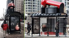Nespresso takes creativity to a whole new level by transforming this bus shelter with 3D props and graphics.