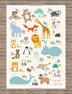 Farbenfrohes und lehrreiches Tier ABC Poster in A3 für die ausgefallene Kinderzimmerdeko. Zu jedem Buchstaben gehört neben dem Tierbeispiel auch der ausgeschriebene Name. Das Poster spricht...