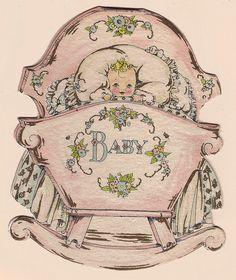 Cradle shaped baby card by katinthecupboard, via Flickr