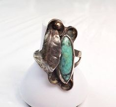 Old Navajo Native American Sterling Silver Turquoise Ring