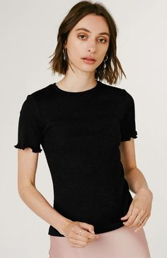 Product Details: Ribbed T-Shirt with baby locked sleeve hem. Material Details: Modal, Cotton Size Details: True to size. The model is One Piece Swimwear, Piece Of Clothing, Short Sleeve Blouse, Snug Fit, Lace Trim, Cap Sleeves, Fashion Beauty, Feminine, Tees
