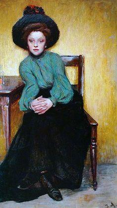 Absynt  -  Zygmunt Andrychiewicz  c.1890  Polish painter 1861 – 1943   impressionism