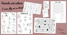 Animaux et actions : I can fly like a bird - Craie hâtive Work With Animals, Action, Robin, Guinea Pigs, Vocabulary, I Can, Bird, Canning, Cycle 3