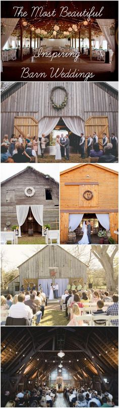 The Most Beautiful & Inspiring Barn Weddings #CountryWedding #Country #Weddings Make sure to follow Cute n' Country at http://www.pinterest.com/cutencountrycom/