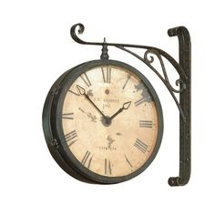 Features:  -Black powder coated metal.  -Roman numerals.  -Tea stained facade.  Product Type: -Analog.  Finish: -Black and copper.  Shape: -Round.  Style: -Contemporary/Industrial.  Primary Material: