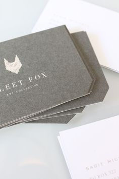 Fleetfox #branding #identity #businesscards - Like the textured matt background with simple foil stamped graphics