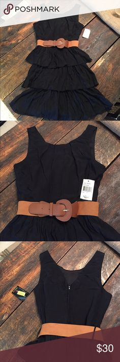 Teeze Me Black Dress with Belt NWT Juniors Black dress with brown adustable belt.  Has belt loops.  Zips in the back. Teeze Me Dresses