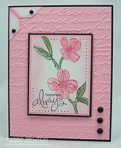 handmade card .... soft summer pink by cookiestamper  ... black mats and brads and ink ... embossing folder script textures ... delightful card ...