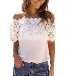 Ucuz Artı boyutu s xxl blusas 2016 yaz tarzı kadınların seksi üstler rahat omuz bluz şifon dantel…