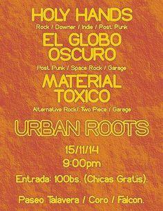 Cresta Metálica Producciones » El Globo Oscuro, Holy Hands y Material Toxico en Urban Roots de Coro