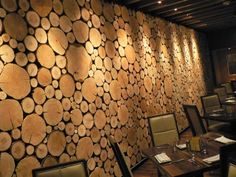 Integrity Design + Build - Organic Log Wall: concept by PleskowRael architect - Basement Remodel Diy, Basement Remodeling, Cordwood Homes, Mountain Dream Homes, Wood Wall Design, Log Wall, Wood Wallpaper, Wood Slab, Wall Treatments