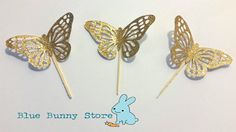 12 Gold Glitter Shimmer Butterfly Cupcake Toppers Pick Birthday Party Girl Decoration Cake Donuts