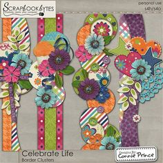 Celebrate Life - Border Clusters :: Page Edges :: Embellishments :: SCRAPBOOK-BYTES