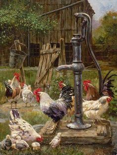 Details about Ceramic Tile Mural Backsplash Mirkovich Rooster Chickens Country Life Art - Kitchen Ideas Rooster Art, Rooster Decor, Chicken Painting, Chicken Art, Country Art, Country Life, Country Kitchen, Arte Do Galo, Graffiti Kunst