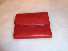 Vintage Buxton Red Pebbled Leather Small Wallet W/ Coin Purse #Buxton #Trifold