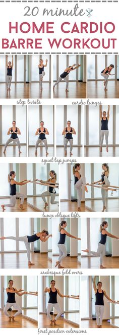 20 Minute Home Cardio Barre Workout This home barre workout is a cardio blaster! Sculpts and tones your lower body while keeping your heart rate up. The perfect at home barre workout with full instructions. No equipment required. Ballet Barre Workout, Cardio Barre, Cardio At Home, At Home Workouts, Barre At Home Workout, Exercise At Home, Ballerina Workout, Dancer Workout, Pilates At Home