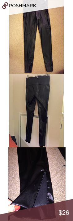 "Guess by Marciano Shiny Black Leggings Great Condition! Worn once. GUESS BY MARCIANO SKINNY, SHINY, SATIN, STRECH PANTS/LEGGINGS. Nylon/Spandex Straight leg with zippers on the bottoms of both legs. Gives you the option of adding a ""flair"" style. Side zip closure. Could dress up or down, very versatile pants.  Size: 2 Guess by Marciano Pants Leggings"