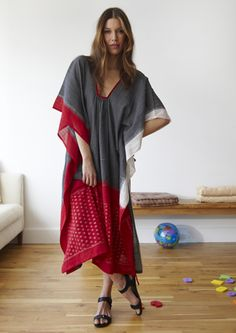 TwoNewYork.com  $360!     But, to make... cut a widish lower bodice neck in the front caftan piece, gather, enclose in bias binding. [in the back, cut out a gentle higher curve and gather]. sew sides. No pattern required.