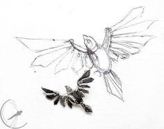Mechanical bird silver pendant flying bird by rekamistworzone, $25.00