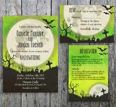 Halloween Wedding Invitation with Moon over a Graveyard - Printable Wedding Invitation, RSVP and Guest Information Card by LangDesignShop on Etsy https://www.etsy.com/listing/264895311/halloween-wedding-invitation-with-moon