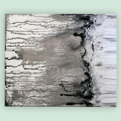 art painting original abstract black white grey liquid painting poured painting 22 x 28 inch Mattsart - Thumbnail 3