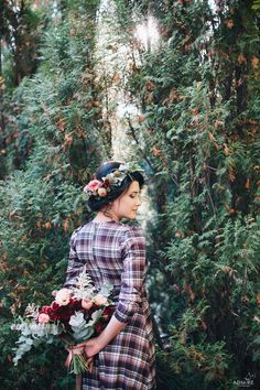 autumn love-story in the park, woman with bouquet