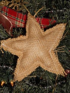 Homemade Burlap Star Ornaments
