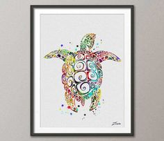 sea turtle poster sea turtle print watercolor poster by ZenioArt