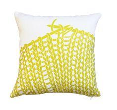 HANDPRINTED. designer pillow/cushion. 40x40cm. Knitting. Chartreuse on White