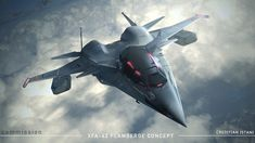 Design taking cues from a type of triangular sword called Cinquedea under its wings are weapon box for storing additional missiles. Stealth Aircraft, Fighter Aircraft, Military Aircraft, Fighter Jets, Spaceship Art, Spaceship Concept, Spaceship Design, Airplane Drawing, Tech Art