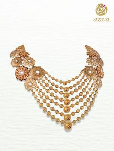 Handcrafted gold necklace with beads and filigree flowers by Azva