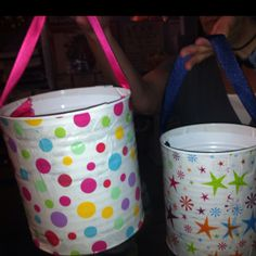 Reusable Easter Buckets..mod podge cute tissue on cans fr cafeteria, drill holes, add a ribbon & you have an adorable bucket! Courtesy of C Carroll!