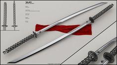 Futuristic katana by peterku on DeviantArt Tactical Swords, Katana Swords, Samurai Swords, Knives And Swords, Ninja Weapons, Anime Weapons, Cosplay Weapons, Weapons Guns, Fantasy Sword