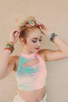 ♡  Festival Vibes ✨ Save 25% off all orders with code PINTERESTXO at checkout   Bohemian Bedroom + Home Decor   Mandala Tapestries & Twilights Decor by Lady Scorpio   Shop Now http://LadyScorpio101.com   @LadyScorpio101    Model Kaitlyn Johnson rocking the space buns wearing pastel rave outfit from Little Black Diamond & Glo FX kaleidoscope glasses + Everwear Arm Candy Bracelets